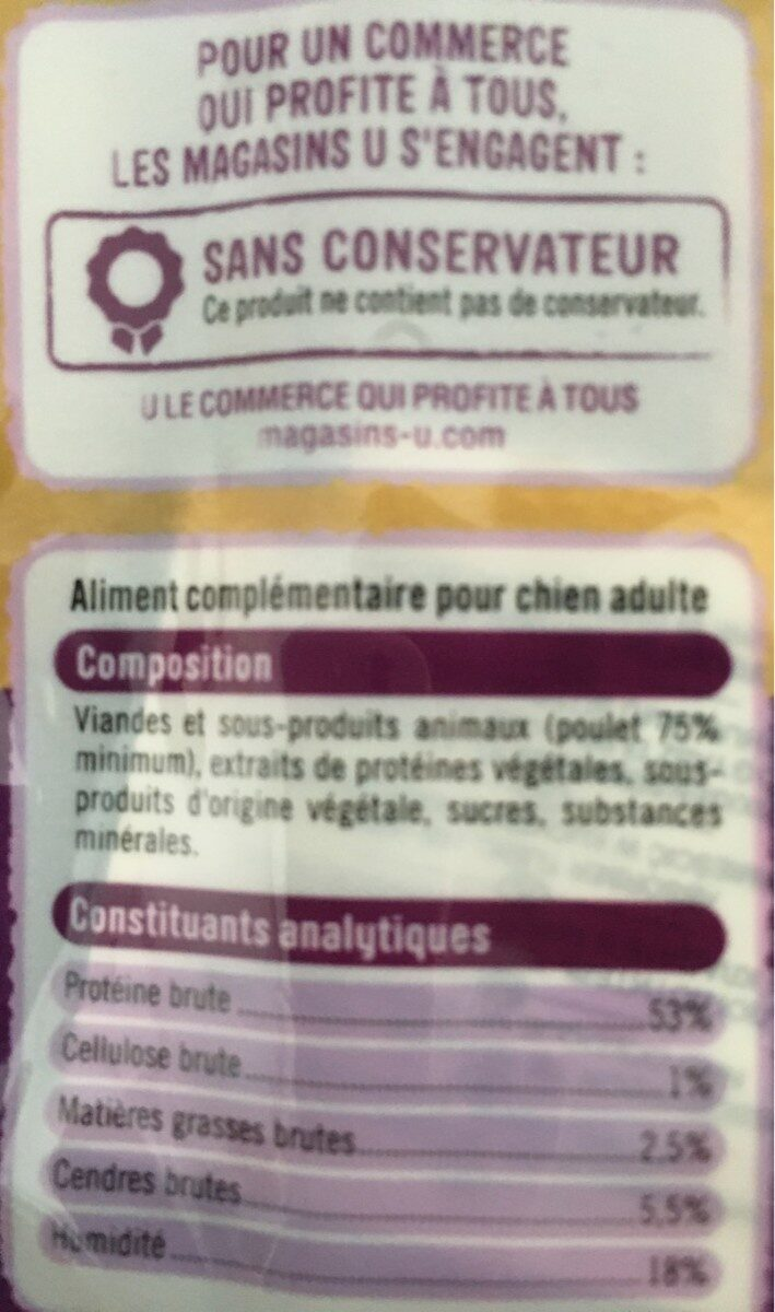 Bandes poulet - Nutrition facts - fr