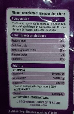 Tendres friandes chat adulte - Nutrition facts - fr