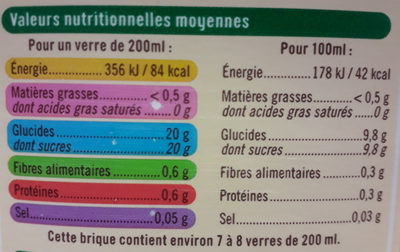Nectar orange pêche abricot - Nutrition facts - fr
