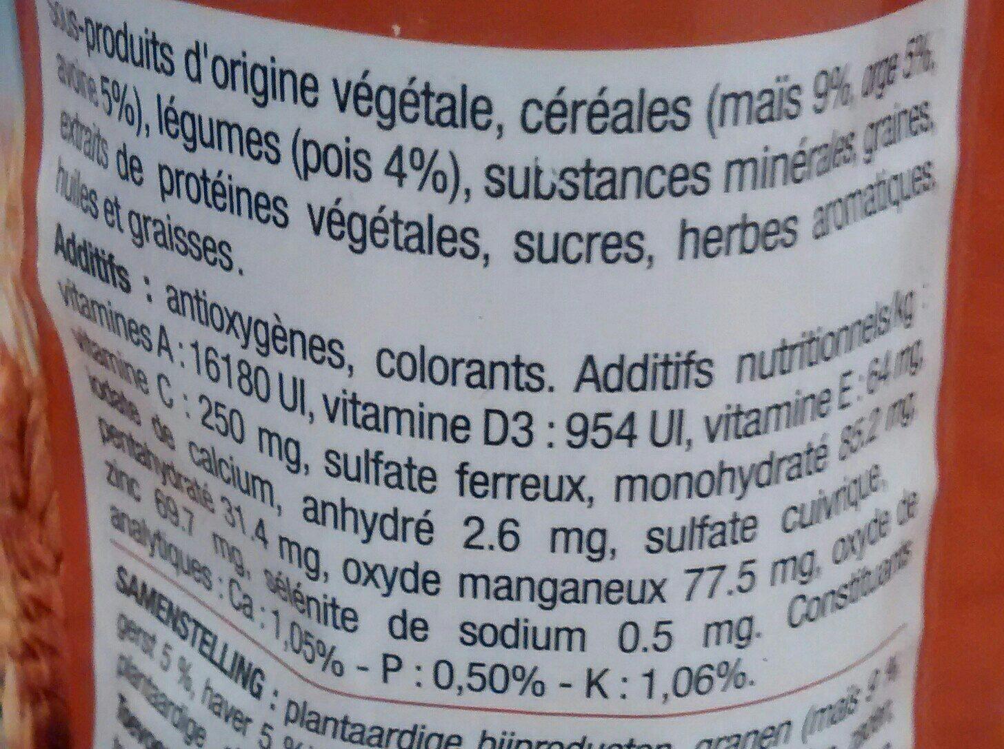 Mélange Complet Pour Cochons D'inde, 800 Grammes, Marque Cora - Ingredients