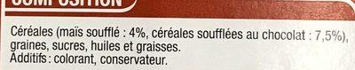 Baguettes pour rongeurs Pop Corn & Céréales chocolatées - Ingredients