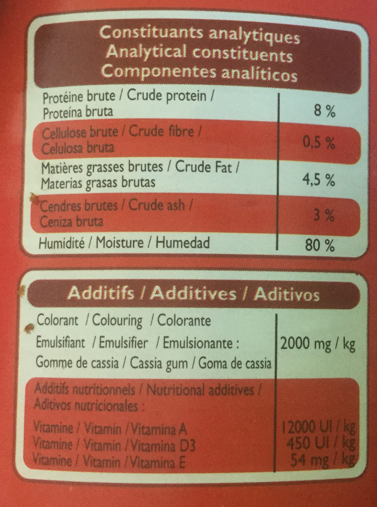 Pâtée avec morceaux riche en bœuf & aux carottes - Nutrition facts