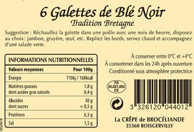 Galettes de Blé Noir Tradition Bretagne en sachet x6 - Nutrition facts