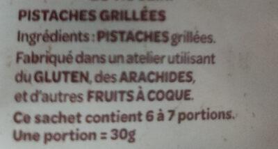 Pistaches grillées - Ingrédients