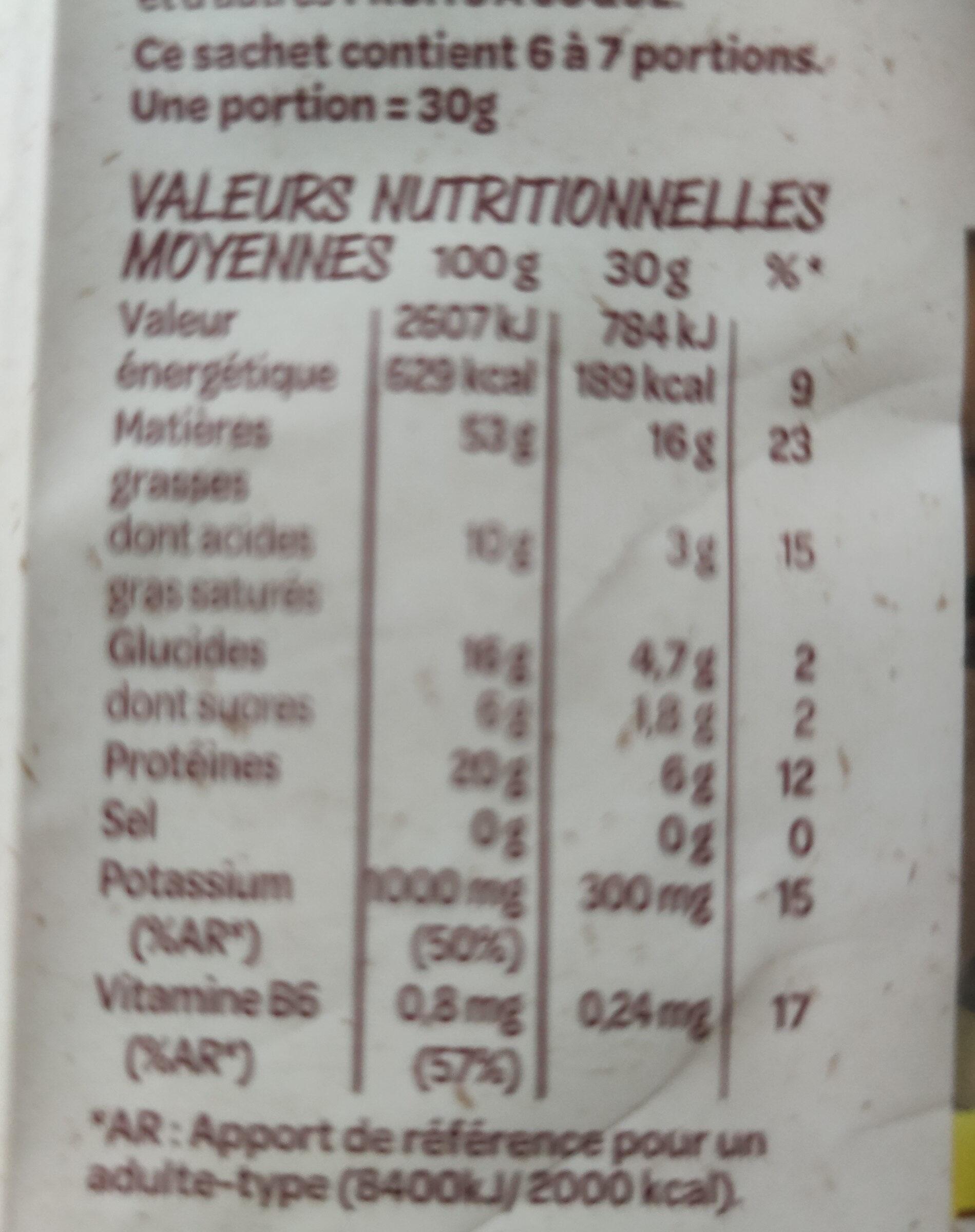 Pistaches grillées - Nutrition facts - fr