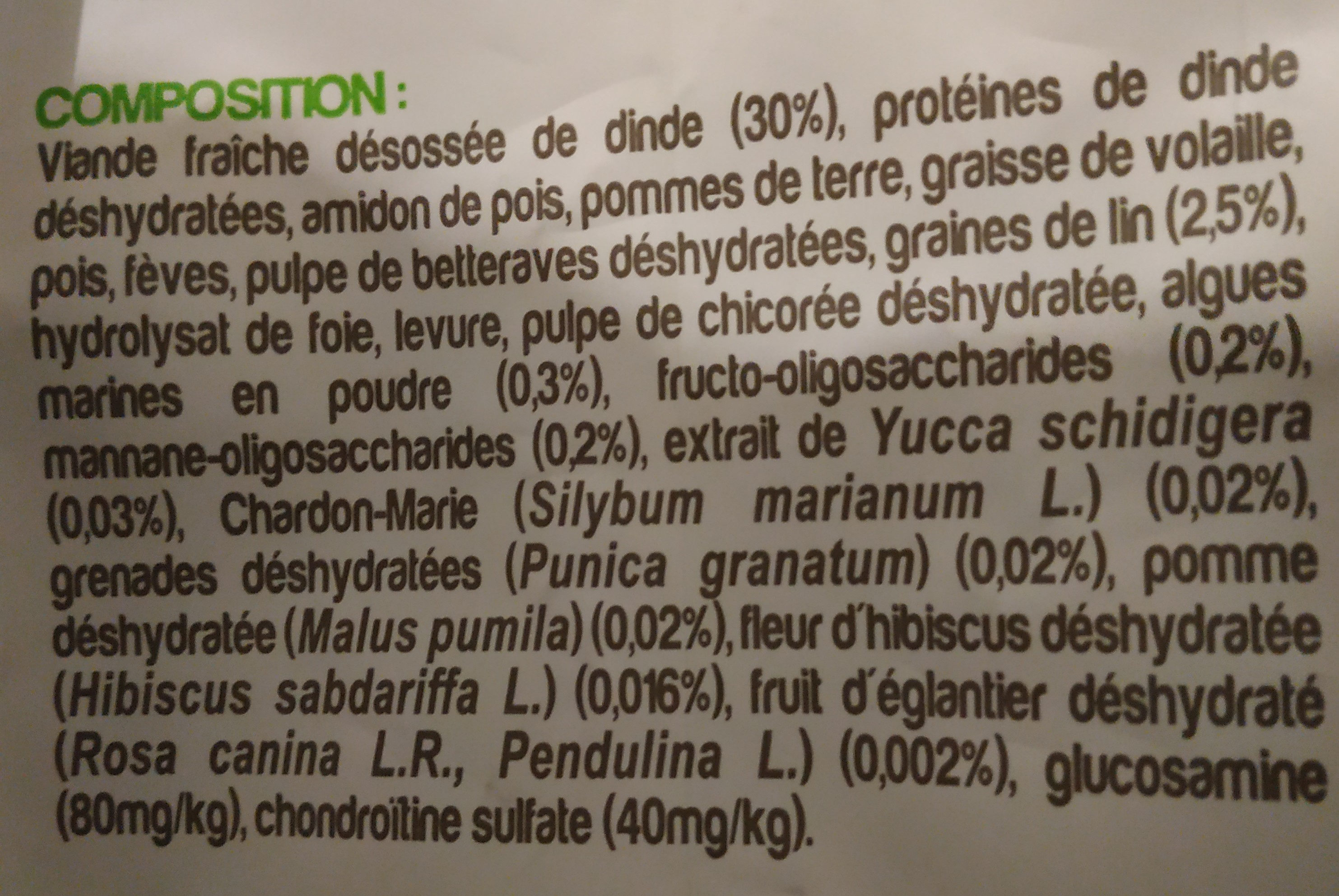 nutrivia nature à la dinde - Ingredients - fr