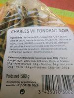 Charles VII Fondants noirs - Ingrédients
