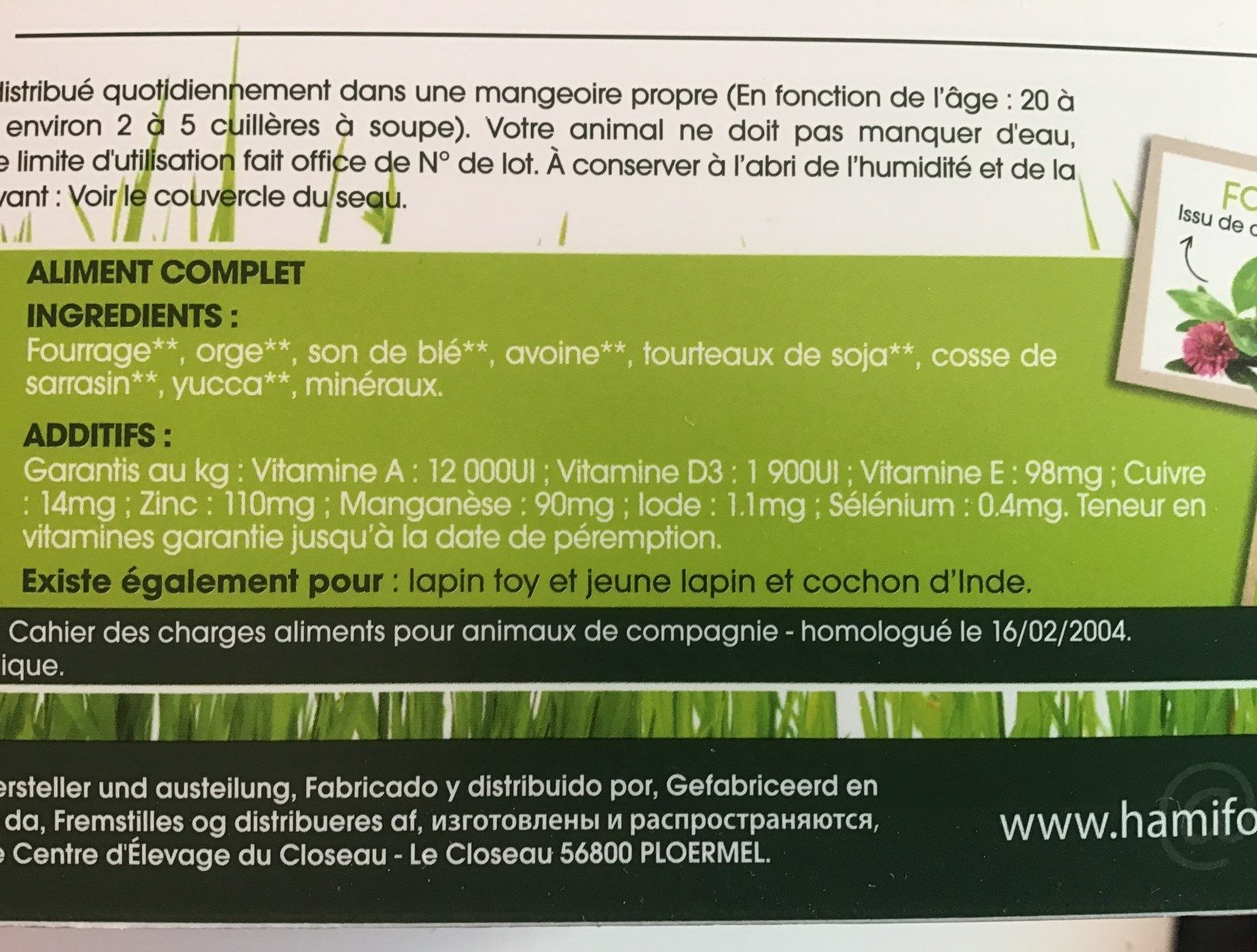 Repas complet pour lapin nain - Ingredients