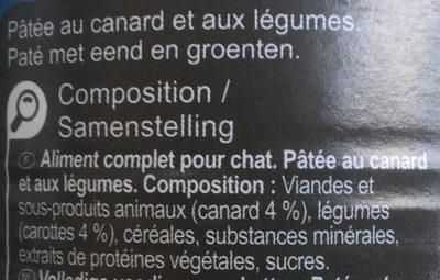 Pâtée au canard et aux légumes - Ingredients