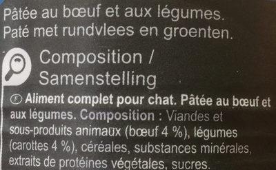 Pâtée au bœuf et aux légumes - Ingredients - fr
