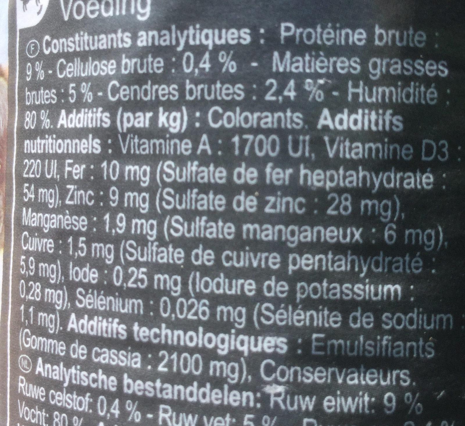 Pâtée au thon et légumes - Informations nutritionnelles