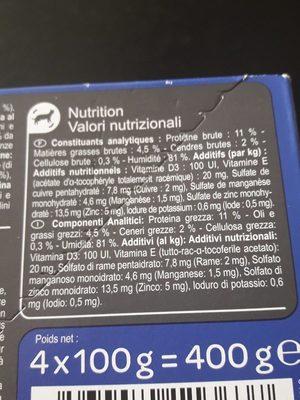 Terrine Pour Chat : Boeuf, Lapin, Foie, Crevettes - Ingrédients