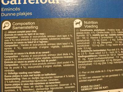 Carrefour émincés pour chat - Ingrédients - fr