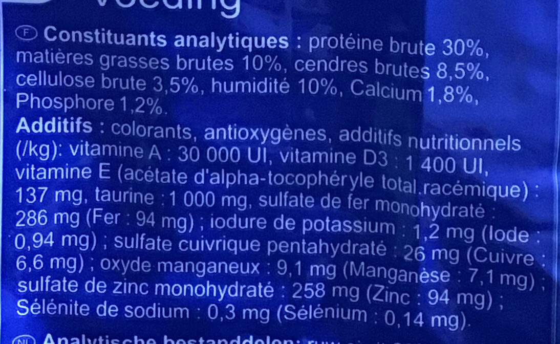 Multicroquettes adult - Nutrition facts