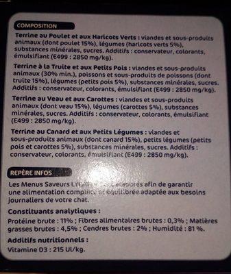 Pâtée Chats Lycat, Menus Saveurs - Ingredients - fr