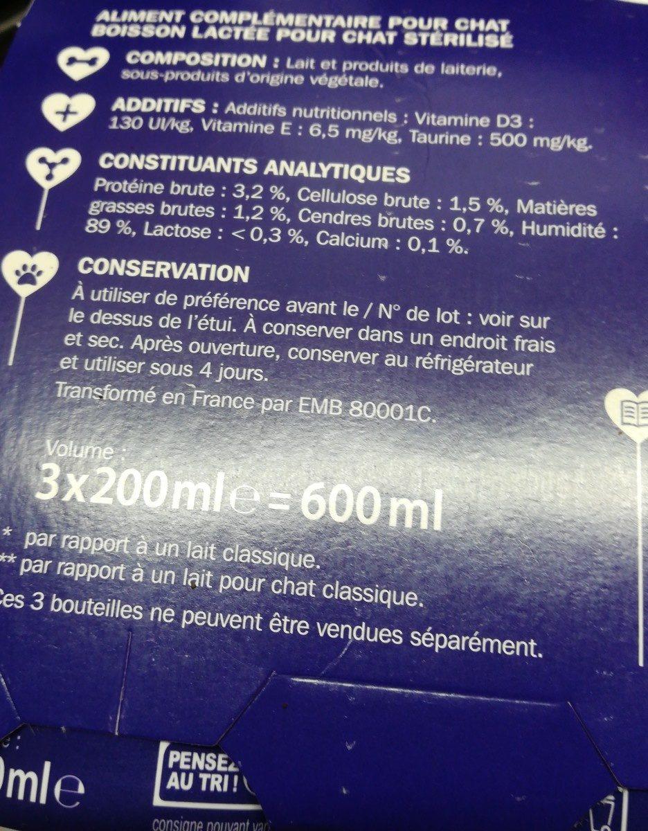 Lycat boisson lactée chats sterilisés - Ingredients - fr