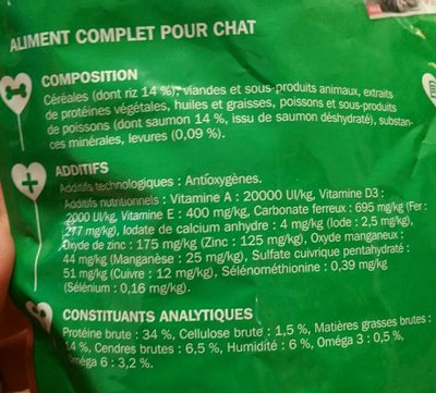 Croquettes riches en saumon et riz - chat adulte - Ingredients