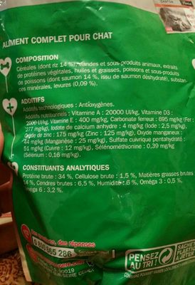 Croquettes riches en saumon et riz - chat adulte - Nutrition facts