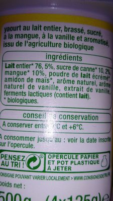 yaourt mixé bio - Ingredients
