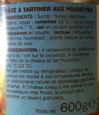 Pâte à tartiner aux noisettes - Ingredients - fr