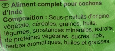 Repas Cochon d'Inde 800g - Ingredients