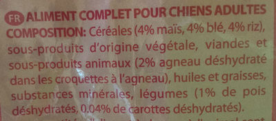 Adult à l'agneau et au riz - Ingredients