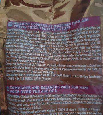 Aliment pour chien Spécial Mini Senior (1-10kg) - Ingredients
