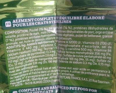 Croquettes poulet orge & céréales pour chats - Ingrédients