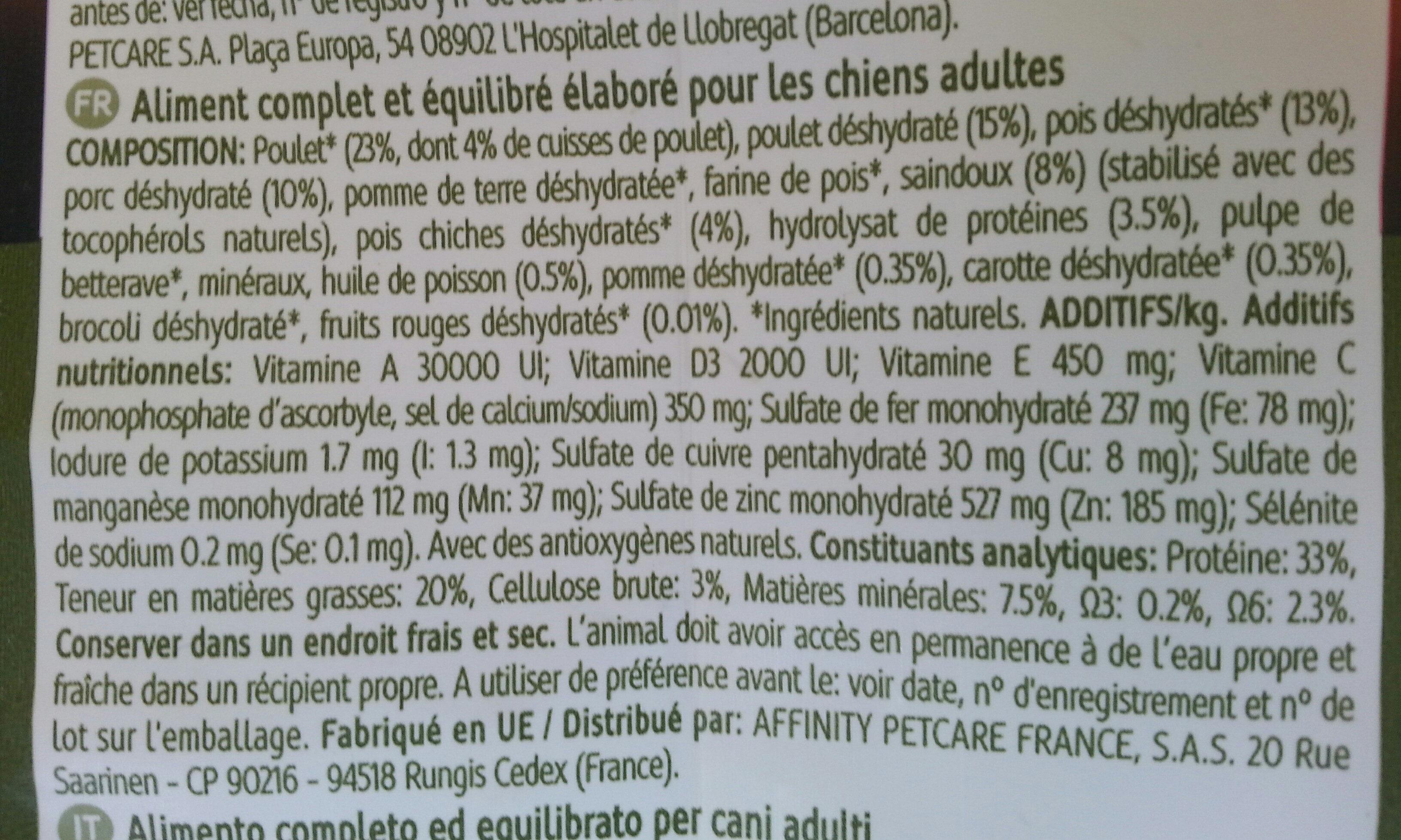 NO GRAIN CHICKEN & CHICKPEAS - Ingredients