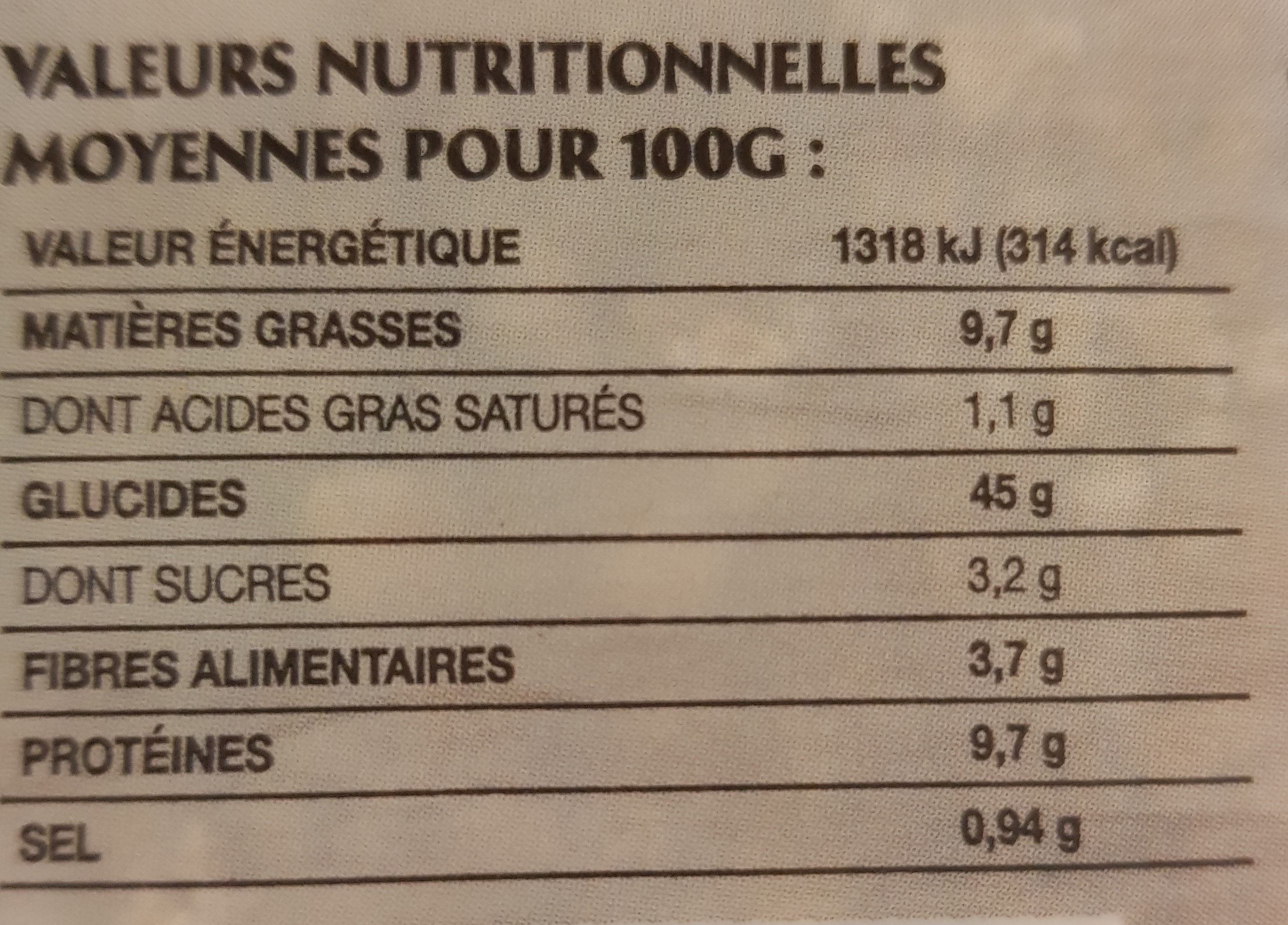 la boulangère l'atelier - Nutrition facts