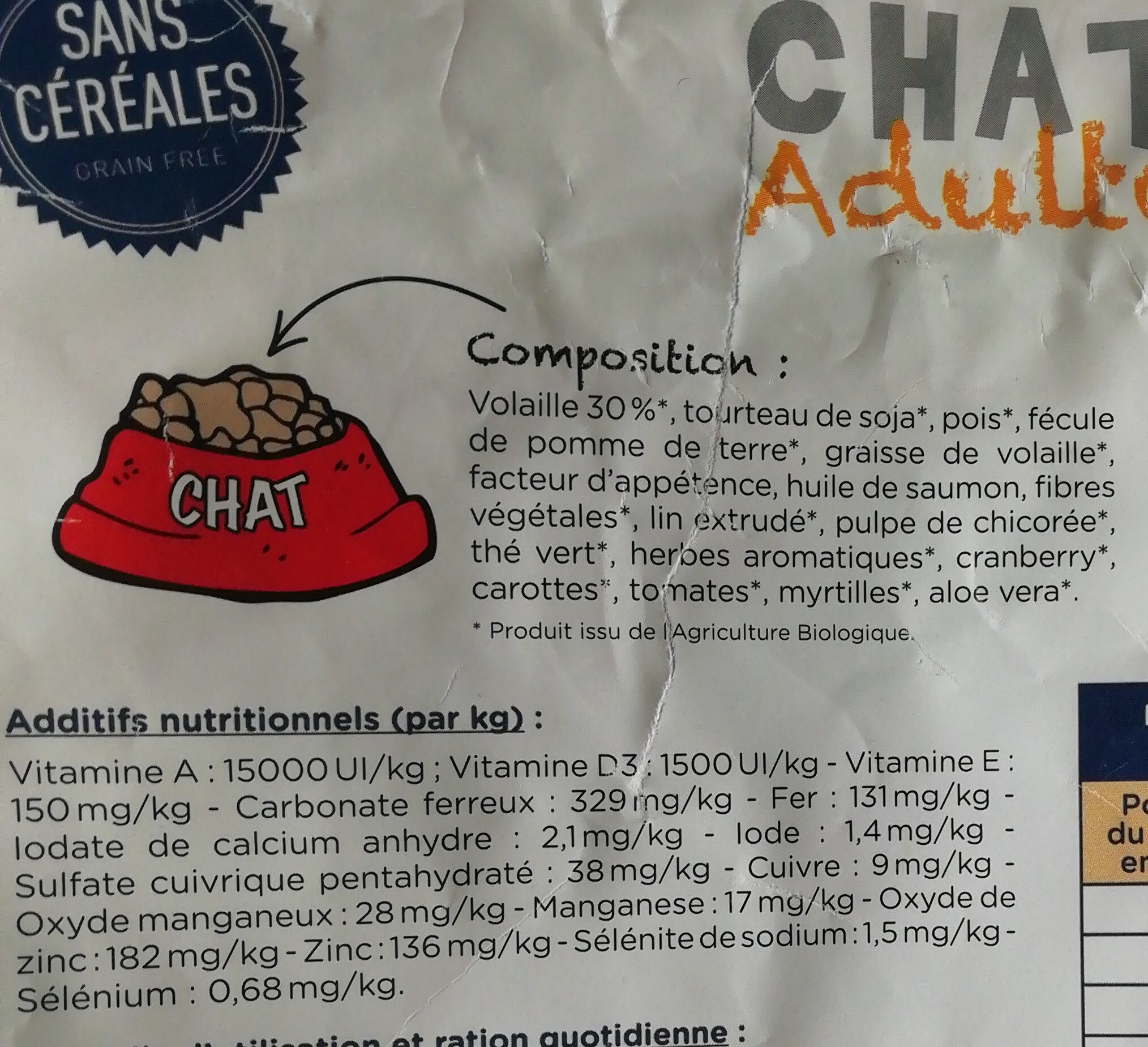 Nestor bio croquettes chat adulte - Ingredients - fr