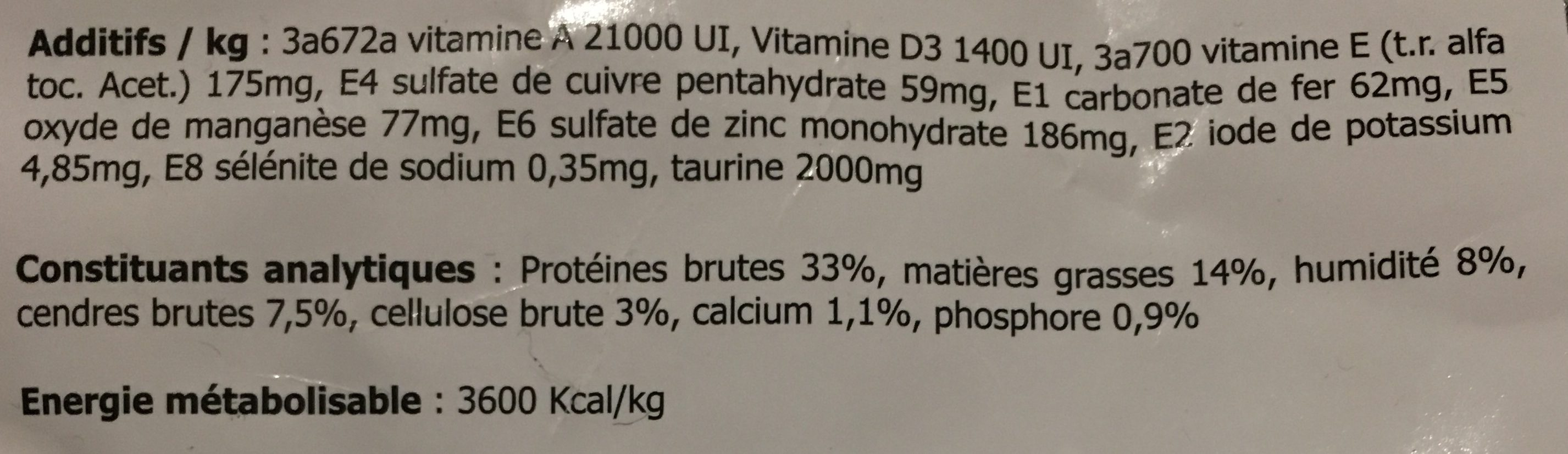 Croquettes chats dinde & poulet - Nutrition facts - fr