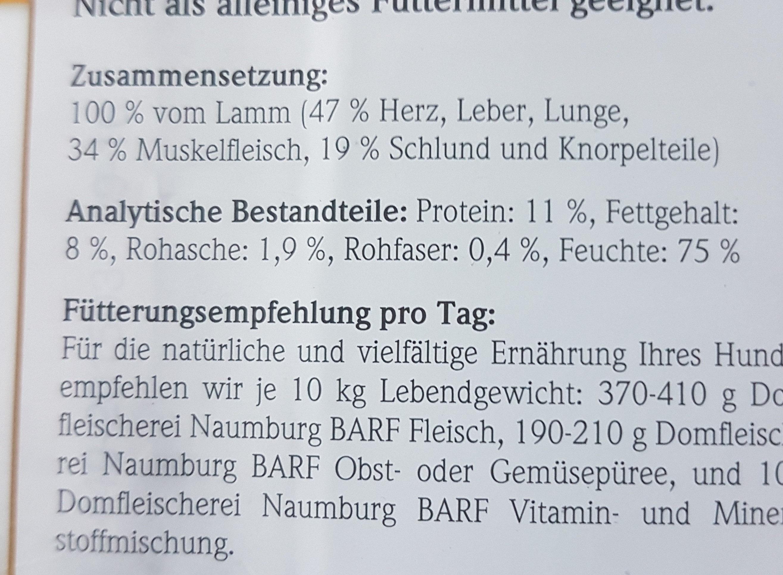 Domfleischerei Naumburg BARF Lamm - Nutrition facts