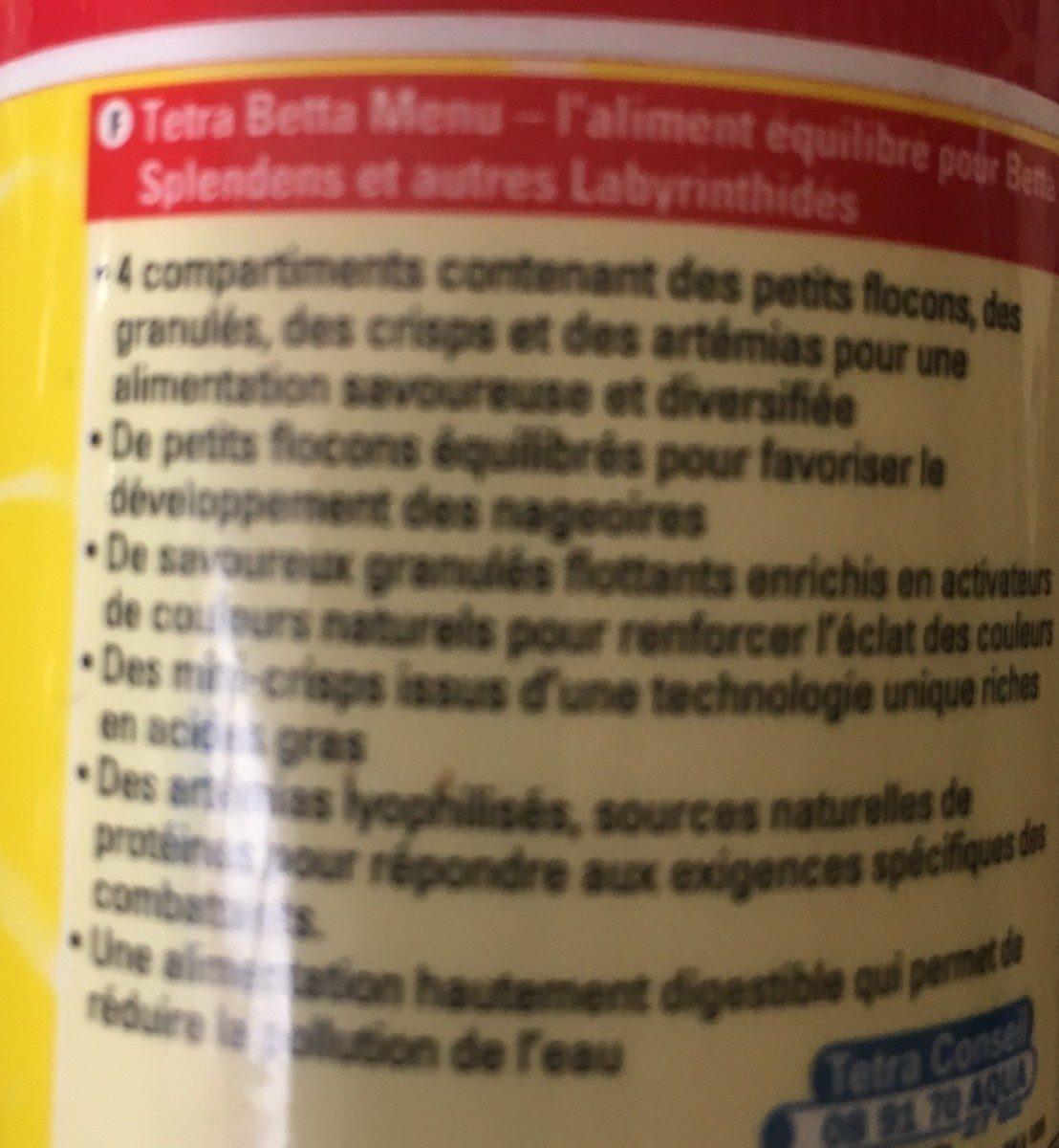Betta Menu - Ingredients - fr