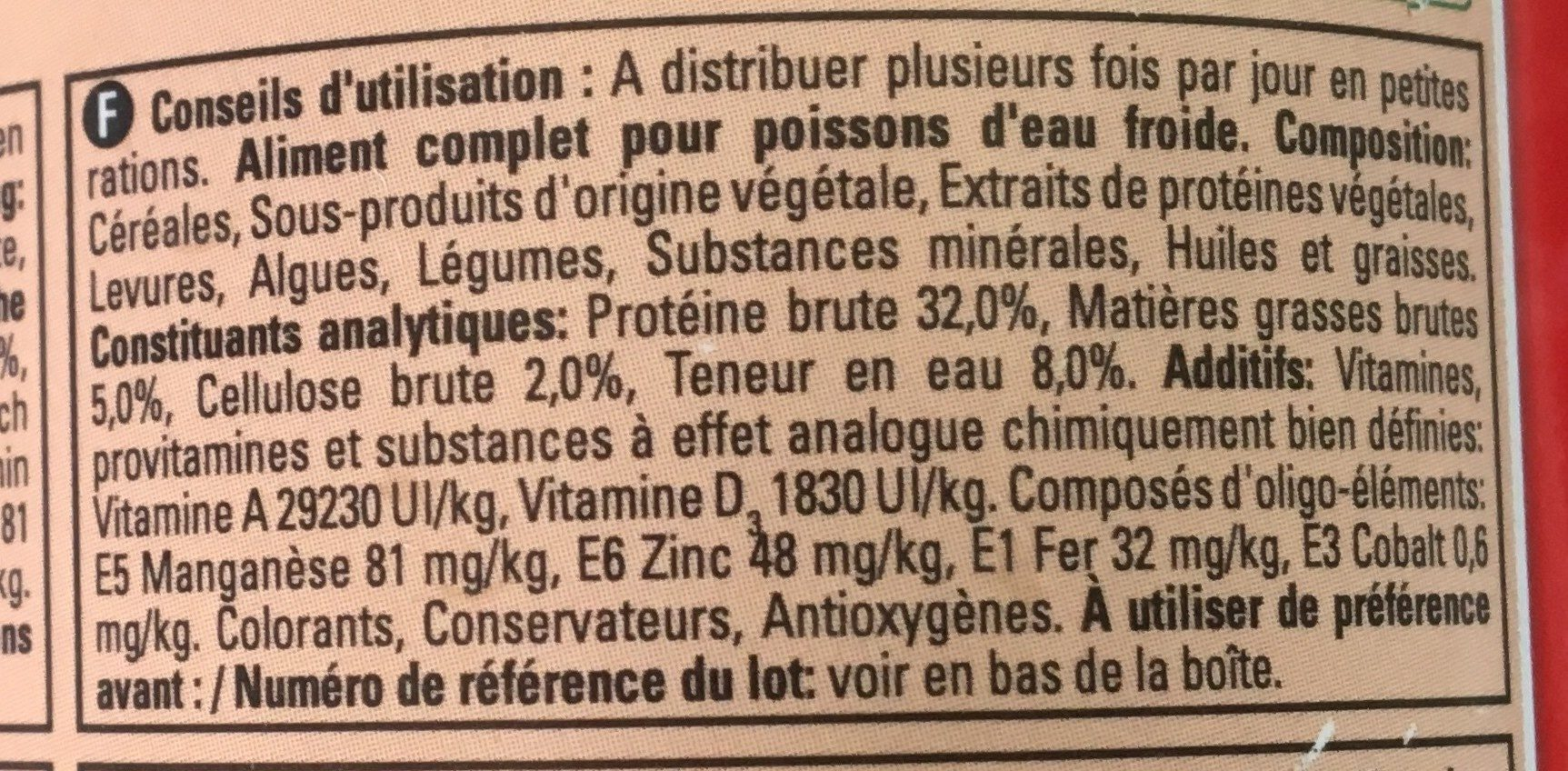 Goldfish Granules - Aliment Complet Poissons Rouges - Ingredients - fr