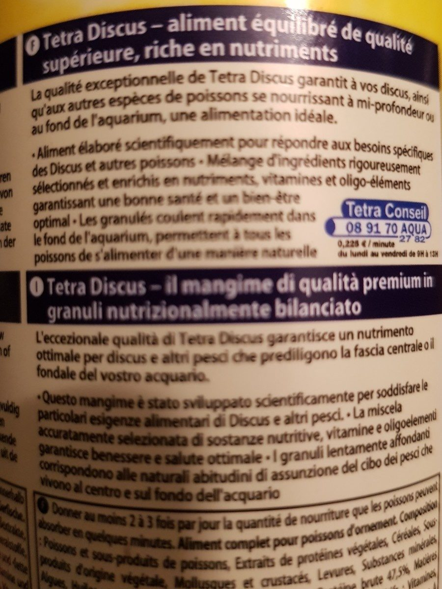 Tetra Discus - 250ML - Ingredients