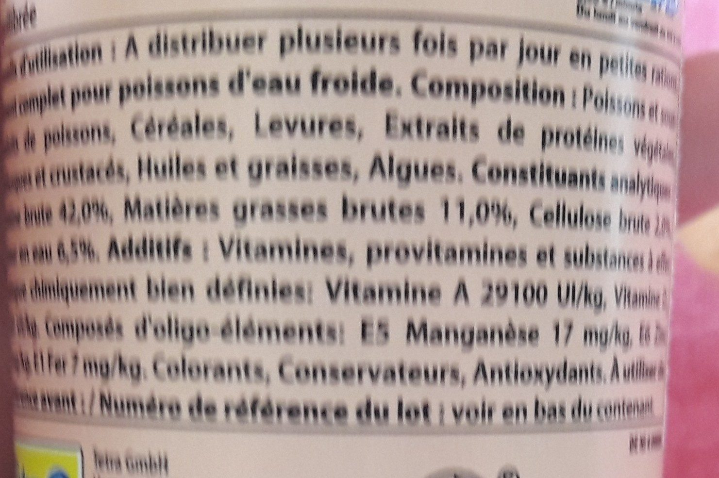 Tetra Goldfish Flocons 100ML - Ingredients