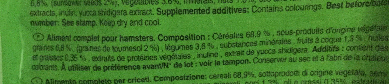 Menu hamsters - Ingredients - fr