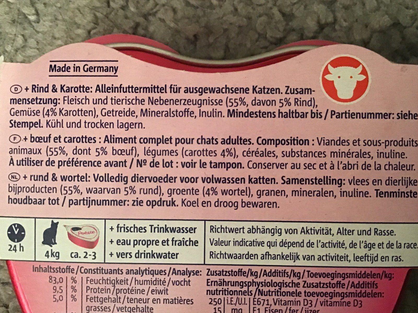 Vitakraft Poésie - Boeuf Et Carotte Dans Une Sauce - Ingredients