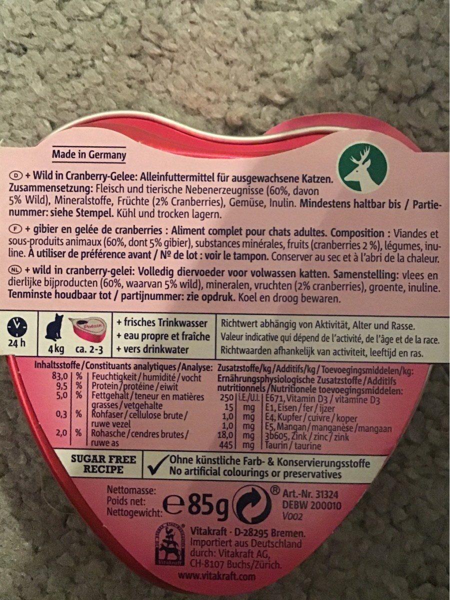 Vitakraft Poésie - Gibier En Gelée Fruit De Canneberges - Ingredients - fr