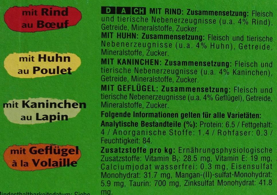 Fleischauswahl in Sauce - Ingredients
