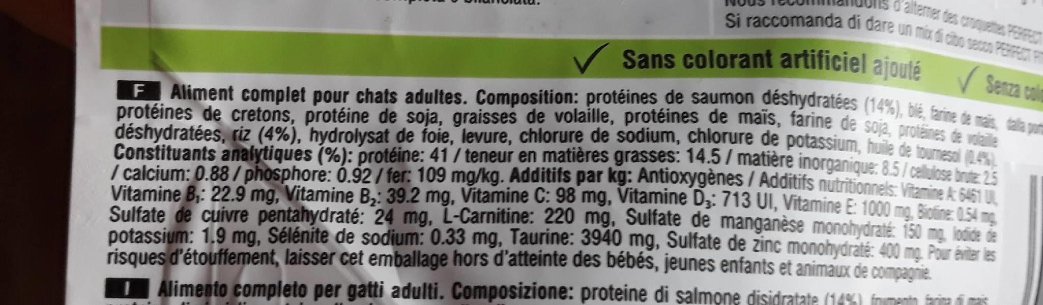 Croquettes Adult 1+ Chats stérilisés Saumon - Informations nutritionnelles