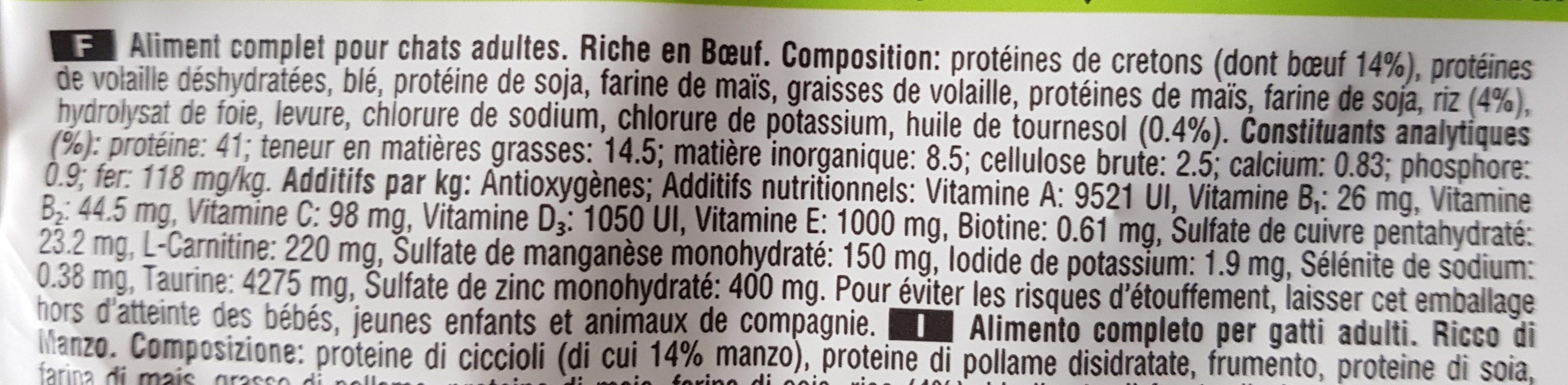 Croquettes Adult 1+ Chats stérilisés Bœuf - Nutrition facts