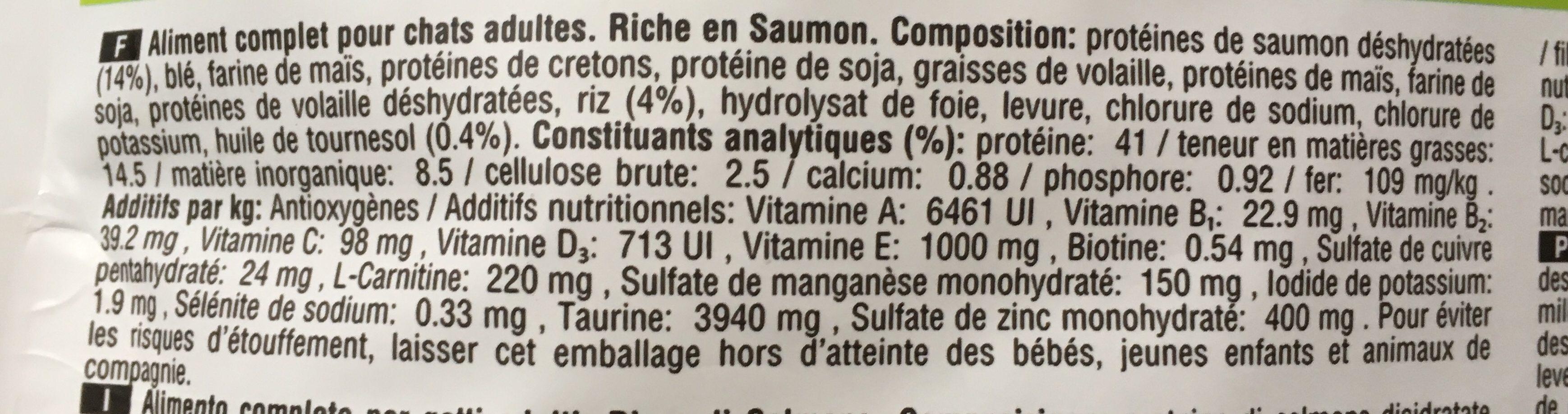 Croquettes Adult 1+ Chats stérilisés Saumon - Ingredients