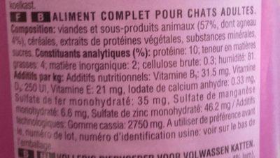 Whiskas Lamb Tin - Ingredients