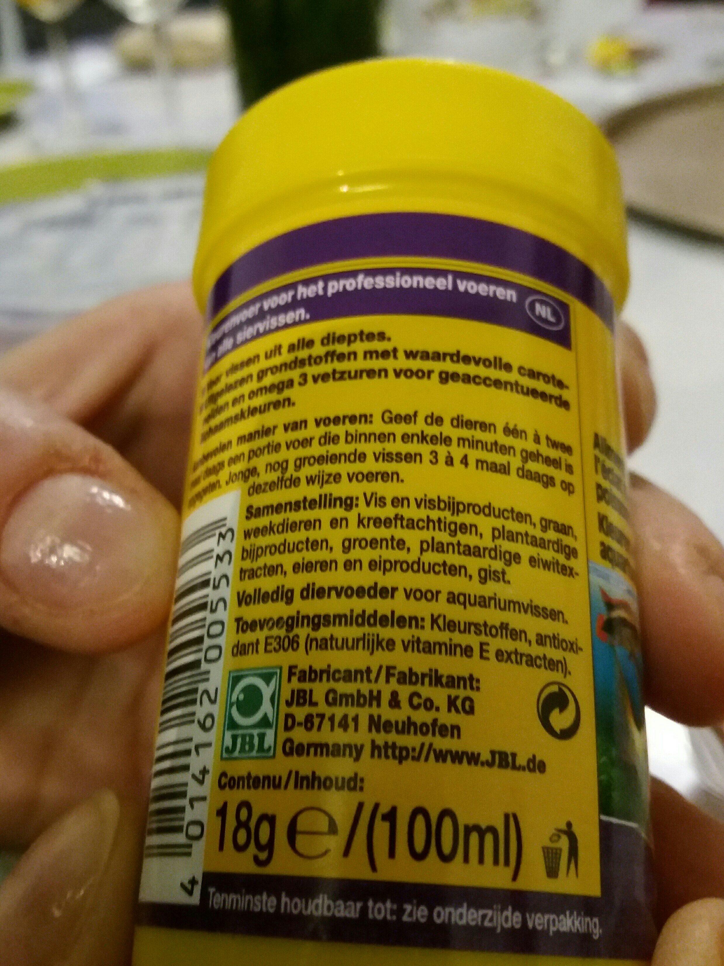 JBL Novocolor 100 ML Nourriture Poissons Colorés - Ingredients - fr