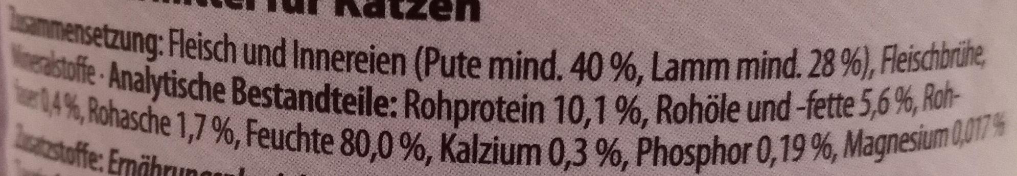 Schlemmertöpfchen Pute & Lamm - Ingredients