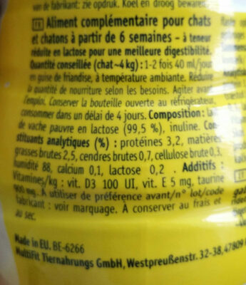 MultiFit Milk - Ingredients - fr