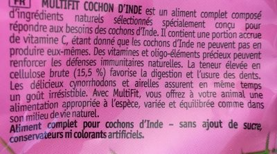 MultiFit cochon D'inde - Ingredients
