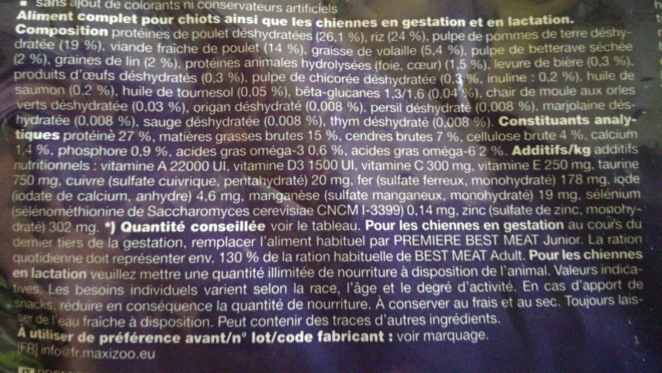Croquettes chiot poulet - Ingrédients - fr